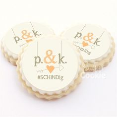 A sweet country themed personalized wedding cookie order with our Rustic Love Cookie Design.…