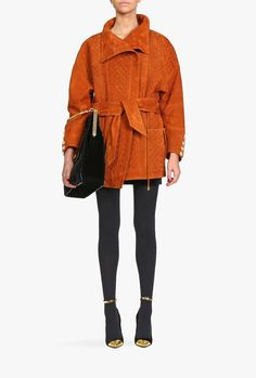 Balmain - Oversized quilted suede coat - Women's leather coats