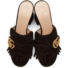 e7ae7f07e6e Gucci - Black Suede GG Marmont Fringed Mules