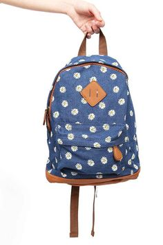 "Adorable denim backpack with a small daisy print and small pocket on on the front. Lining on the inside. Adjustable straps. *14"" H x 10"" L x 3"" W"