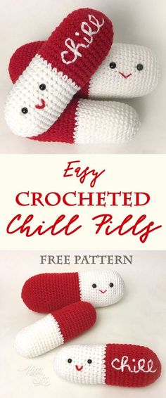 Beginner crochet project for people who have never tried amigurumi before. These simple chill pills only require the most basic knowledge of crochet stitches.. and can be modified to any size. Take a chill pill!