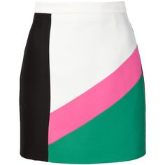 Dsquared2 colour block skirt ($415) ❤ liked on Polyvore featuring skirts, white, dsquared2, color block skirt, colorblock skirt and white skirt