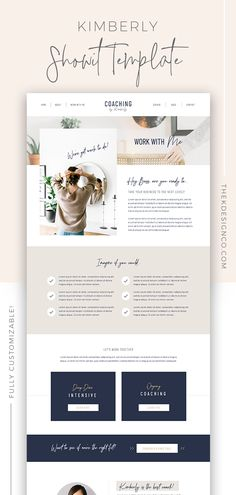 Kimberly - ShowIt 5 Template - K Design Co. - Are you a coach, consultant or service-based entrepreneur who wants a website that features all the - Web Design Trends, Design Websites, Site Web Design, Graphisches Design, Website Design Layout, Web Design Tips, Web Layout, Modern Web Design, Best Web Design