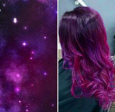 10 Galaxy Hairstyles We Love - Nina Ozera - 10 Galaxy Hairstyles We Love stevenaustinhairartist Galaxy Hair - Cute Hair Colors, Pretty Hair Color, Hair Color Purple, Magenta Hair, Pretty Makeup, Galaxy Hair Color, Ombre Hair, Pretty Hairstyles, Dyed Hair