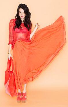 Tangerine Dream // #color #colorblocking #fashion #maxiskirt