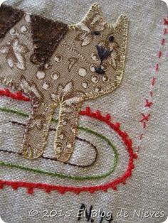 Gato. Red Home Aplique quilt de Natalie Bird Patchwork Quilting applique