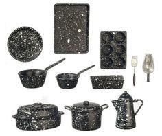 Dollhouse Miniature 1:12 Scale Chrysnbon 11pcs Spatterware Cookware Set CB0091