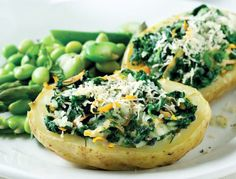 under 100 calories Spinach jacket potato