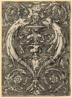Lucas van Leyden - Ornamental panel with dolphins, 16th century.