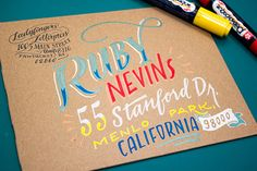 week 12 typography / lulu / Envelope Address Hand Lettering Tutorial by Ladyfingers Letterpress via Oh So Beautiful Paper Hand Lettering Envelopes, Addressing Envelopes, Calligraphy Letters, Typography Letters, Handwritten Letters, Letter Addressing, Calligraphy Envelope, Font Alphabet, Learn Calligraphy