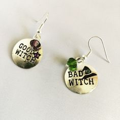 Witch Earrings, Wicked Broadway, Halloween Earrings, Witch Jewelry, Good Witch Bad Witch by LuminaryFinds on Etsy
