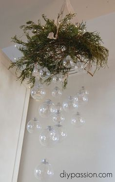 diy clear ornament hanging chandelier, christmas decorations, crafts, repurposing upcycling, seasonal holiday decor