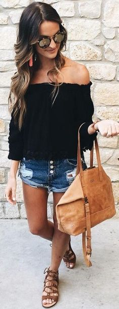 #summer #american #style | Black + Denim + Brown Leather