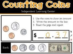 """Here's a Flipchart file where students can practice counting coins and bills. Start by using the money from the """"Bank"""" to show an amount in the box. Then write the amount using dollars and cents notation. To repeat, simply reset the page."""