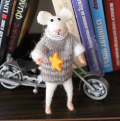 Needle felted white mouse Mouse with sweater Winter by misha2smile