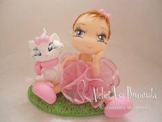 Topo personalizado menina com gatinha marie fazemos outros temas também solicite um orçamento!!!