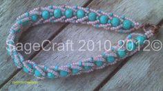 Turquoise & alabaster flat spiral bracelet