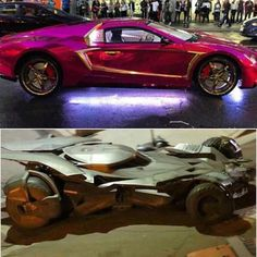 BREAKING: #Batmobile and #Thejoker's Car on the set of #SuicideSquad tonight!