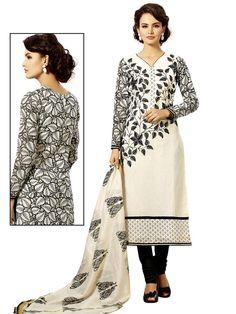Admirable off white color #Chanderi cotton kurta with resham work. Item code ; SLHD76018 http://www.bharatplaza.com/new-arrivals/salwar-kameez.html