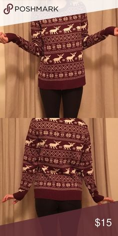 Cozy cute maroon reindeer sweater from Forever 21 Worn once, super warm and comfy. Wool blend. Perfect for winter festivities! Fits S/M Forever 21 Sweaters Crew & Scoop Necks