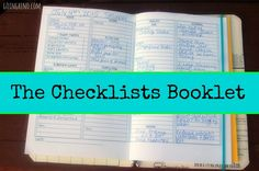The Checklists Booklet will help you get your life in order.