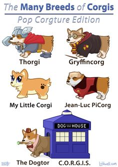 almost pushing my geeky limit here, but they're CORGI PUNS.  I couldn't resist.