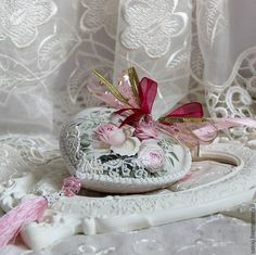 """Купить Керамическое интерьерное сердце """" Кружевная нежность"""" - розовый, сердце, интерьерное сердце"""