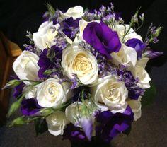 White rose purple lisi lilac limonium bridal hand tied bouquet