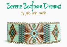 You are purchasing an odd count peyote digital pattern....NOT THE ITEM IN THE PHOTO!! What a SOFT rendition of my series, THE COLLECTION. Here is SERENE SEAFOAM DREAMS. A gentle bit of sea foam mixed with neutral taupe beige and brown, make the perfect compliment to any