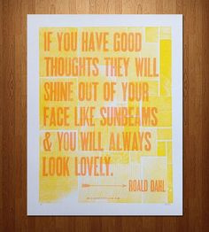 "Roald Dahl ""Good Thoughts"" Letterpress Print"