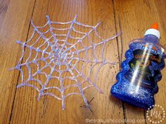 The Scrap Shoppe: Easy Elmer's Glitter Glue Spider Webs! A quick and easy Halloween craft! Holidays Halloween, Halloween Treats, Fall Halloween, Happy Halloween, Halloween Decorations, Halloween Party, Outdoor Halloween, Fall Crafts, Holiday Crafts
