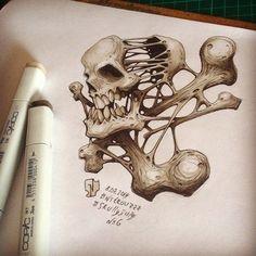 Incríveis ilustrações esqueléticas de Andrey Pridybaylo