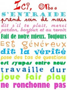 Stole from Shelley. Cute for the wall of the classroom. Classroom Tools, Classroom Rules, Classroom Organization, Classroom Management, Teaching French, Teaching Tools, Teaching Resources, Core French, Learning