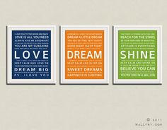Children art print. Baby nursery art print. Typography art for kids. Nursery wall quotes. Set of 3 - 5x7 Cliche print, LOVE, DREAM, SHINE. $25.00, via Etsy.  I am really loving the primary color themed nursery
