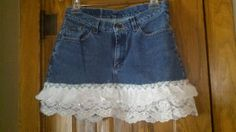Short Denim Skirt with Ruffles and Lace Womens by Remade2Remember, $28.00. Or...put lace on bottom of any denim skirt?