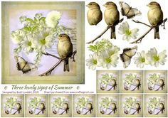 Three lovely signs of summer on Craftsuprint designed by Bodil Lundahl - Three lovely signs of summer: bird, butterfly, flowers - put together vintage style to a 3D step by step image. Included are also 10 teabag-tiles, which you can use for a medallion or for a border. - Now available for download!