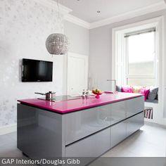 grifflose k cheninsel hochglanz wei mit betonarbeitsplatte j schke arbeitsplatten k chen. Black Bedroom Furniture Sets. Home Design Ideas