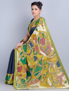 Buy Blue Green Multi Color Hand Painted Kalamkari Cotton Saree by Angikam Sarees Printed Narratives Concept in Art Online at Jaypore.com