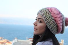 Hand knitted women's beret with batik design yarn made of light green, pink, lilac colors. Lilac Color, Beige Color, Red Berets, Winter Accessories, Light Colors, Hand Knitting, Knitted Hats, Beanie, Colorful