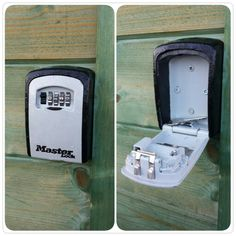 Now this would make a secure puzzle cache. Not removable and can't be opened without the combination, so it can't be muggled. Though you'd need permission to screw it fast to a wall if you didn't own it yourself.