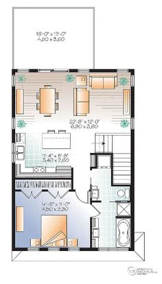 I actually really love this floorplan. It's also a garage apartment! Garage Plan 76395 - Contemporary , Cottage Style 1 Car Garage Apartment Plan with 1028 Sq Ft, 1 Bed, 2 Bath Plan Garage, Garage House Plans, Small House Plans, House Floor Plans, Garage Ideas, Garage Entry, Garage Apartment Plans, Garage Apartments, Garage Apartment Interior