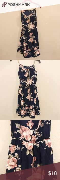 """🆕 Floral Dress with Bead Strap Tie New light weight floral dress with beautiful braided straps. Great to take on vacations. Has a minor flaw as shown in the last picture.   Size is one size. Material: Polyester  Approx. Measurements:  ▪️Bust: 38"""" ▪️Waist: 22-35.5"""" ▪️Length: 34"""" Dresses"""