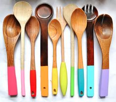 Paint Dipped Wooden Spoons so cute! i love all of the bright happy colors !