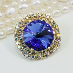 Sapphire Blue Brooch Pin Swarovski Crystal AB 18mm by TIMATIBO