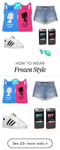 """""""Disney with BFF"""" by asiac017 on Polyvore featuring J Brand, adidas, JFR and Ray-Ban"""