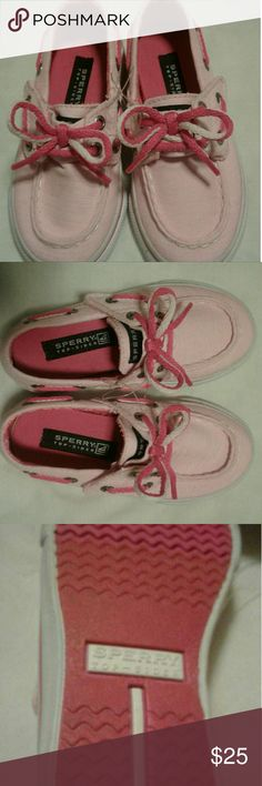 NEW Sperry Top - Sider Canvas Children's Shoe 6M Girl's Bahama Jr. Heather Pink w/Velcro Strap and Laces.  Brand New w/o Tag, Size 6M. Sperry Top- Sider Shoes Sneakers