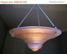 SIGNED MULLER FRERES French Art Deco Hanging Lamp by Decofanatique