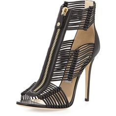 Jimmy Choo Katie Strappy Zip-Front Sandal ($500) ❤ liked on Polyvore featuring shoes, sandals, heels, black, strappy sandals, black strappy sandals, black heeled sandals, black strap sandals and black high heel sandals