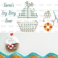 crochet appliquet hook and more boats crochet boat appliques graphic . Appliques Au Crochet, Crochet Applique Patterns Free, Crochet Diagram, Amigurumi Patterns, Crochet Motif, Crochet Stitches, Free Pattern, Crochet Boat, Love Crochet