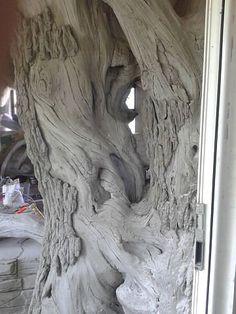 Cement Art, Concrete Cement, Cement Crafts, Concrete Sculpture, Tree Sculpture, Foam Carving, Raised Bed Garden Design, Papercrete, Unique Trees